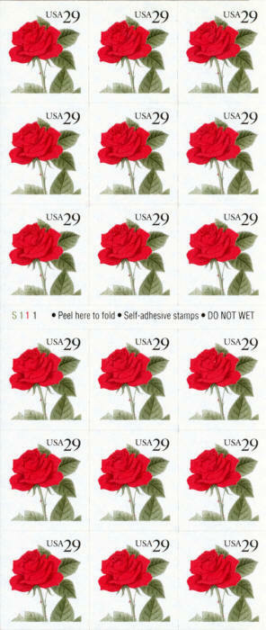 1993 29c Red Rose, Pane of 18 Scott 2490a Mint F/VF NH