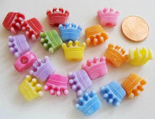 20 perles Acryliques Couronne princesse roi prince 13mm mix couleurs DIY Bijoux