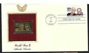 Ee. Uu. 1991 Roosevelt & Churchill 18k Chapado en Oro Sello & FDC