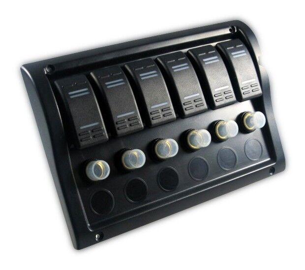 Schaltpaneel Schalttafel Schalttafel Schalttafel mit 6 Schaltern schwarz Schalter Paneel NEU 6501 71bde4
