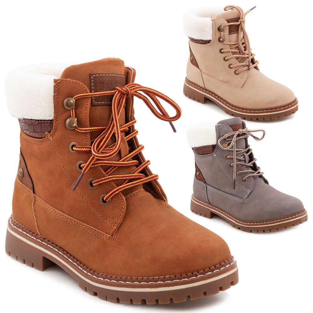 Femmes Chaussures Bottes écho Fourrure Bottines Bottes Lacets Chaud 185-pa
