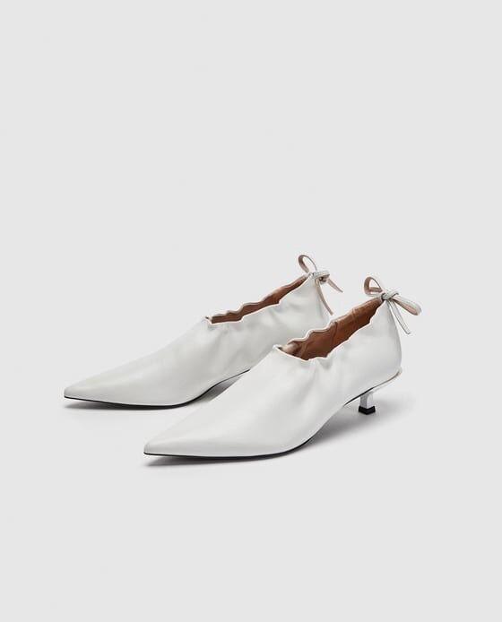 ZARA damen Größe 38 Weiß gatherot leather salon schuhe