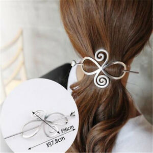 Details about Women s Silver Gold Metal Bun Ponytail Holder Cover Hair  Stick Clips Pin Hairpin 68f1e7645d5
