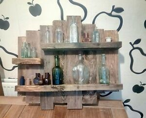 wall mounted rustic floating shelf solid wood display unit. Black Bedroom Furniture Sets. Home Design Ideas