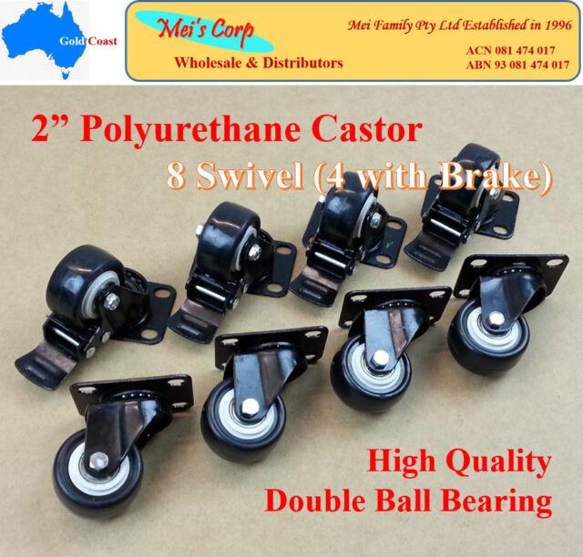 "2"" Polyurethane Castor Wheels,8 Swivel Castors (4 with brake), Heavy Duty Caster"