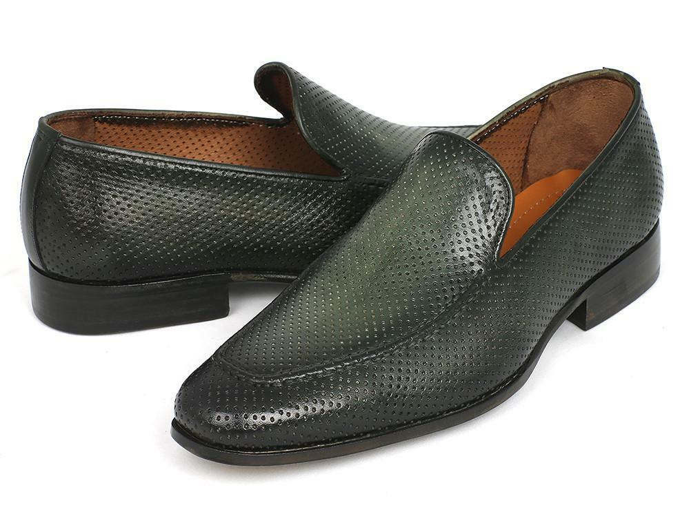 Paul Parkman Perforated Leather Loafers verde (ID 874-GRN)