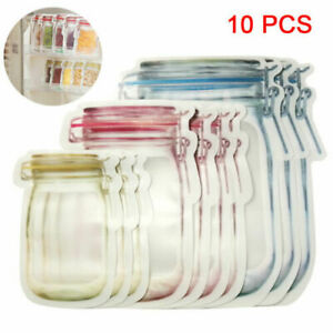 10Pcs-Storage-Mason-Jar-Zipper-Pouch-Reusable-Snack-Airtight-Lock-Plastic-Bags