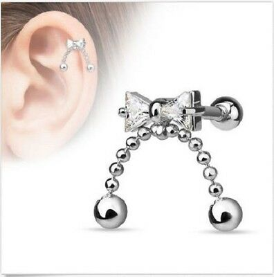 Surgical Steel Ear Cartilage Tragus Barbell Stud with CZ Ribbon Chained Ball