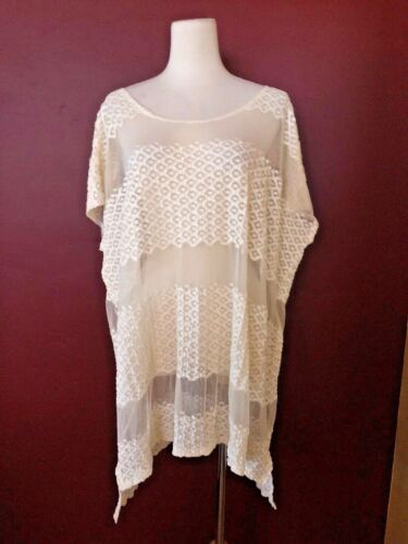 Free People M asymmetrical lace cream relaxed bagg