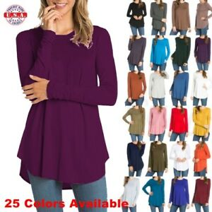 USA-Womens-Round-Neck-Long-Sleeve-Rounded-Hem-Layering-Tunic-Top-Casual-Solid