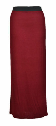New Ladies Plain Long maxi Skirt Summer Dress Womens Size 6 8 10 12 14 16 *JrsSK