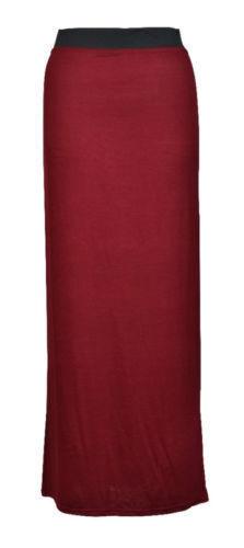New Ladies Plain Long maxi Skirt Summer Dress Womens Size 6 8 10 12 14 16 *JrsSK