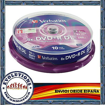 TARRINA 10 DVD+R DL DOBLE CAPA VERBATIM 8.5GB 8X ORIGINALES DUAL LAYER  +R