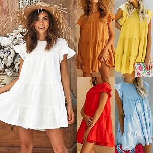 Womens-Ladies-Summer-Smock-Mini-Dress-Holiday-Beach-Casual-Loose-Frill-Sundress