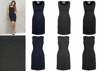 Biz Corporate Ladies Sleeveless Side Zip Dress 30211 | Cool Stretch Pinstripe