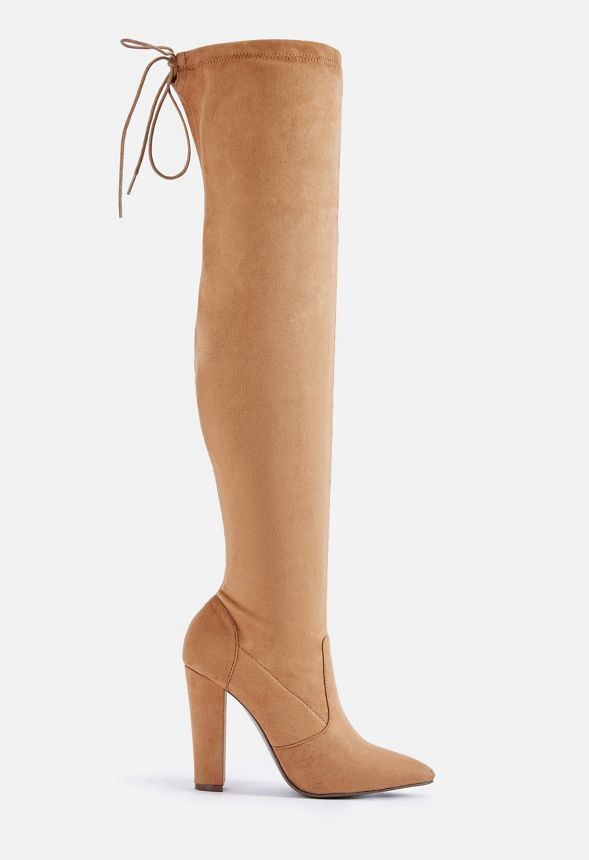 JustFab Cara Womens UK 3.5 Camel Brown Microsuede Over Knee High Heel Tall Boots