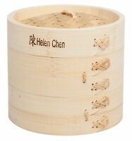 Helen's Asian Kitchen 5 ½ X 6 Inch Natural Bamboo Steamer Set With Lid on Sale