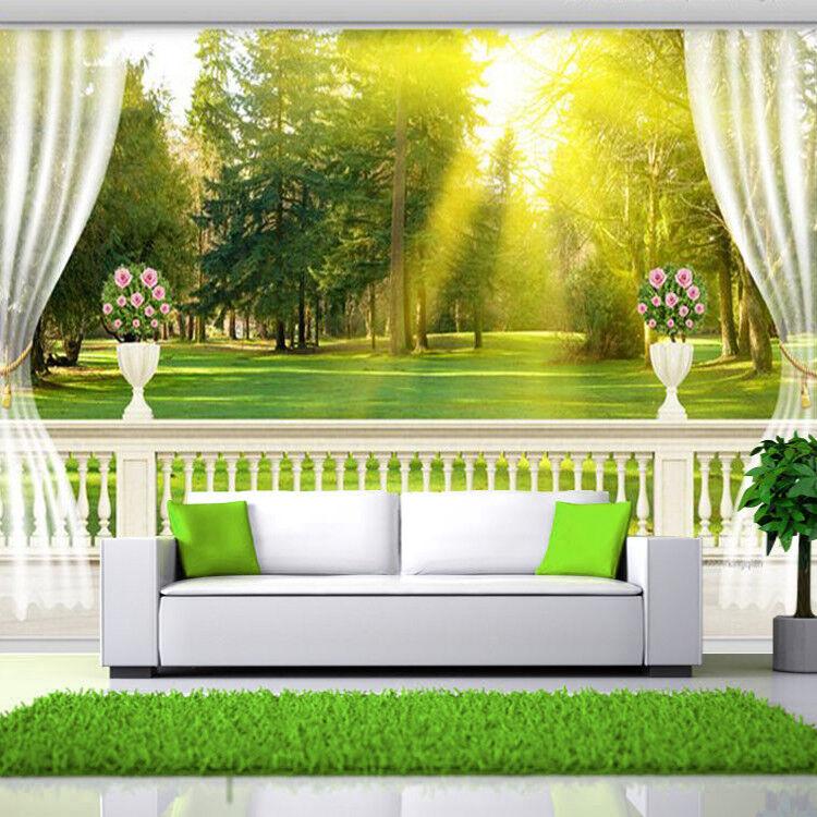 3D Balkon Bäume Sonne 9 Tapete Wandgemälde Tapete Tapeten Bild Familie DE Summer