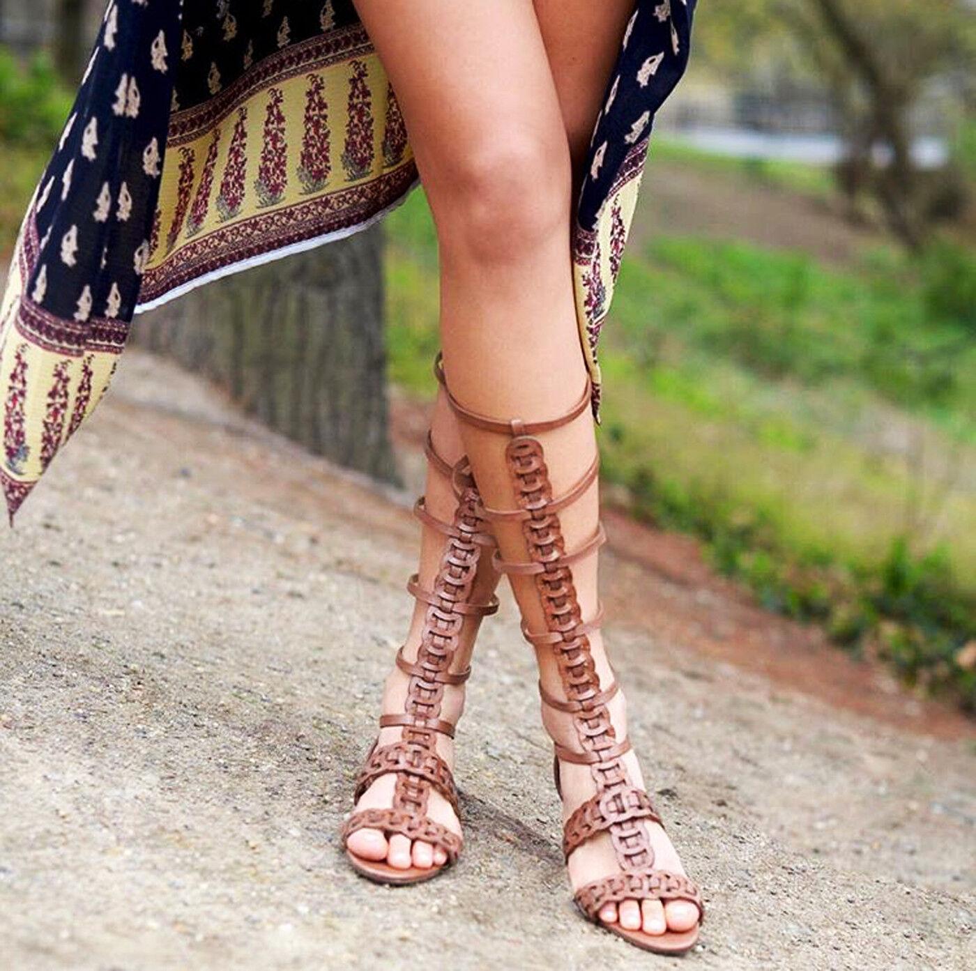 Schutz Rella Suflair Braun Braided Leder Flat Knee High Gladiator Sandale