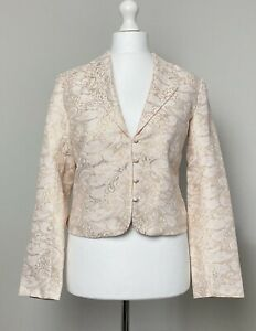 OLD-NAVY-ivory-gold-cropped-jacket-blazer-size-XL-14-16-wedding-evening-party