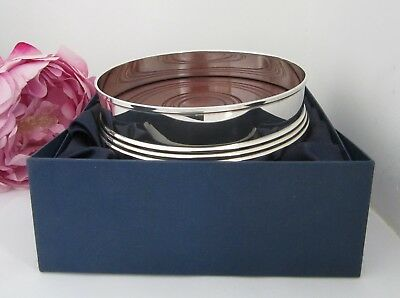 Sterling Silver Wine Coaster with Turned Wooden Base set in a Presentation Box