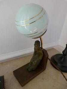 Lampe Art Deco Pierrot Regule Marbre 1930 Veilleuse Chevet Enfant