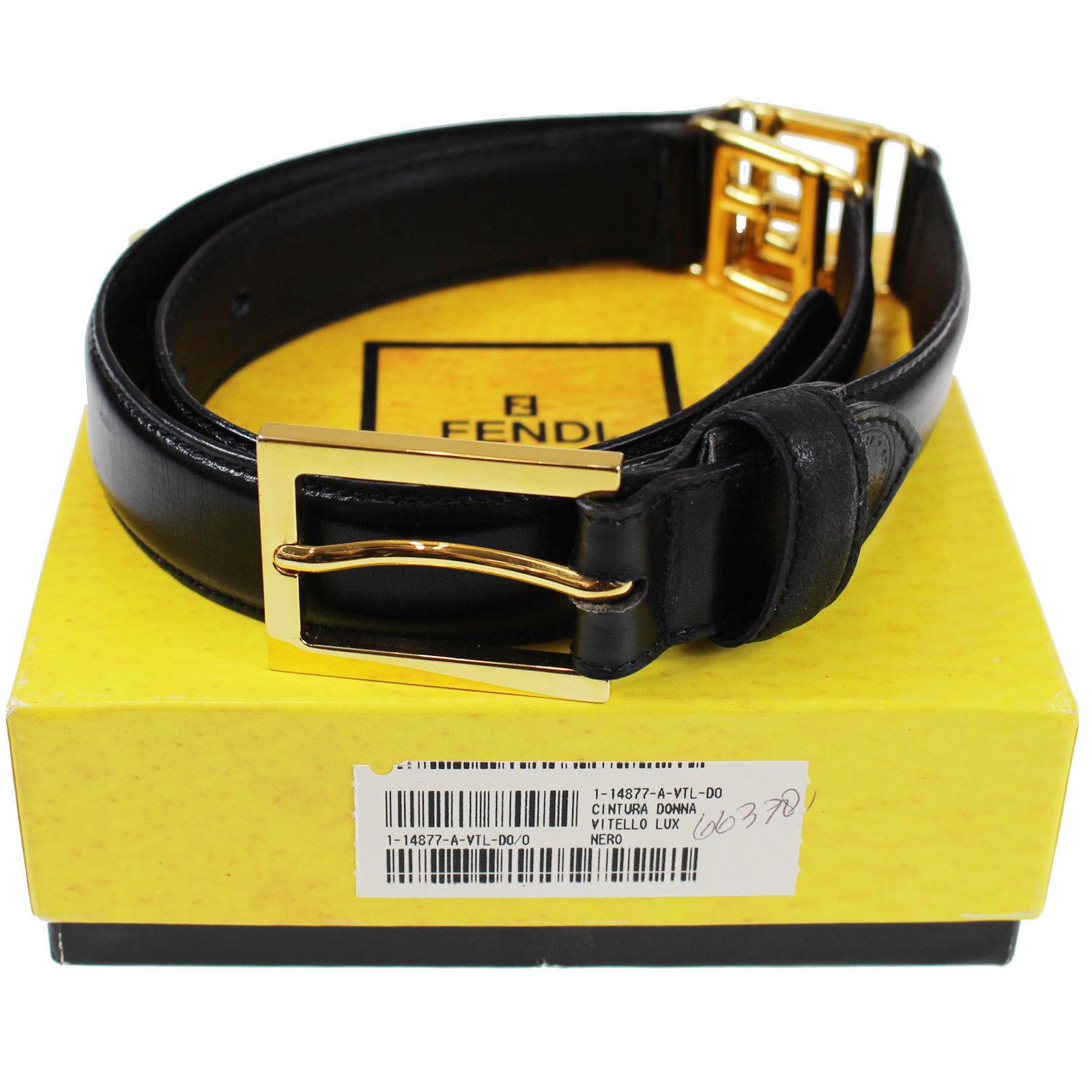 7928514bb Fendi FF Logos Belt Black Leather Gold Tone Size 38 Vintage Italy ...