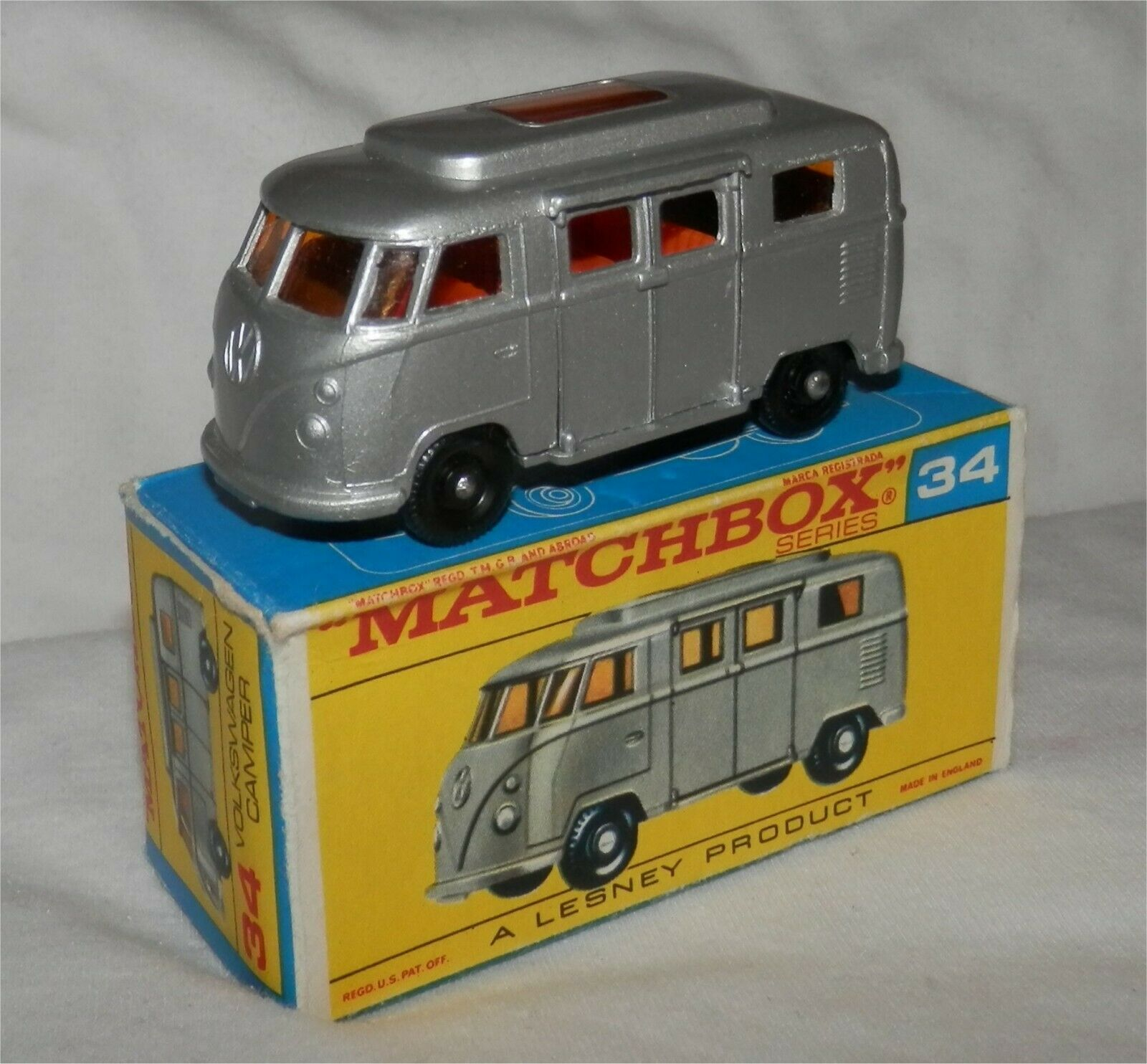 1960 s. LESNEY MATCHBOX .34,VW. Volkswagen BPW. Camper Low Roof Comme neuf en C Type Box