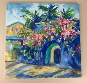 Original-NANCY-DESMOND-ARMITAGE-Floral-Courtyard-Tropical-Painting-Signed-2017