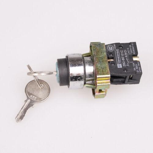 1x 22 mm auto-reset 2 position 1NO IP65 Métal Clé Bouton Poussoir Interrupteur XB2-BG41
