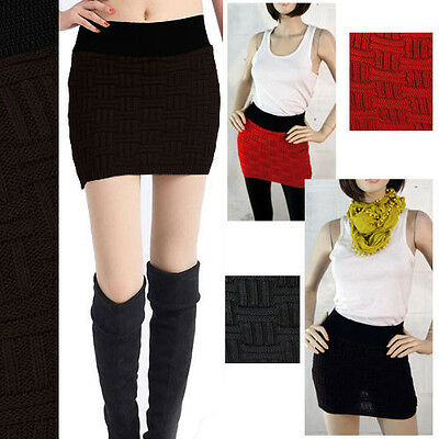 Women's Sexy Knitted Wool Mini Pencil Skirt Elastic Stretchy Bodycon Fashion OS
