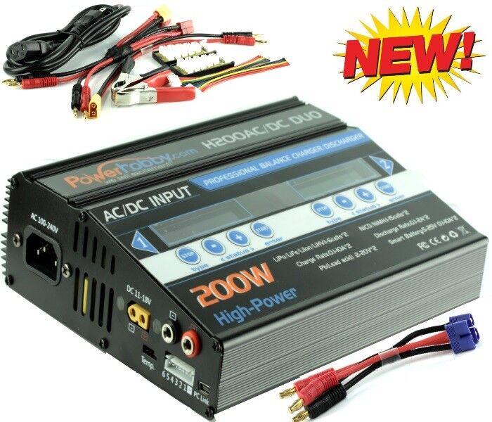 Powerhobby H200 Ac Dc Doble Lipo 200w Cargador de Batería  Losi Ec3