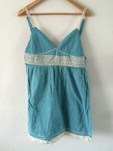 Summer-Dress-Size-12-Atmosphere-Cotton-Aqua-Blue-With-Cream-Trim-lt-R7772
