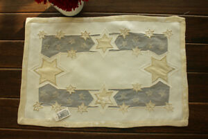 11x17-034-Christmas-Golden-Stars-Appliqued-Embroidered-Placemat-Dining-Table-Mat