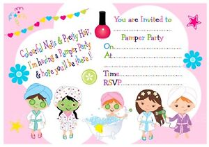 Girls Pamper Party Cute Birthday Party Invitations x 10 optional
