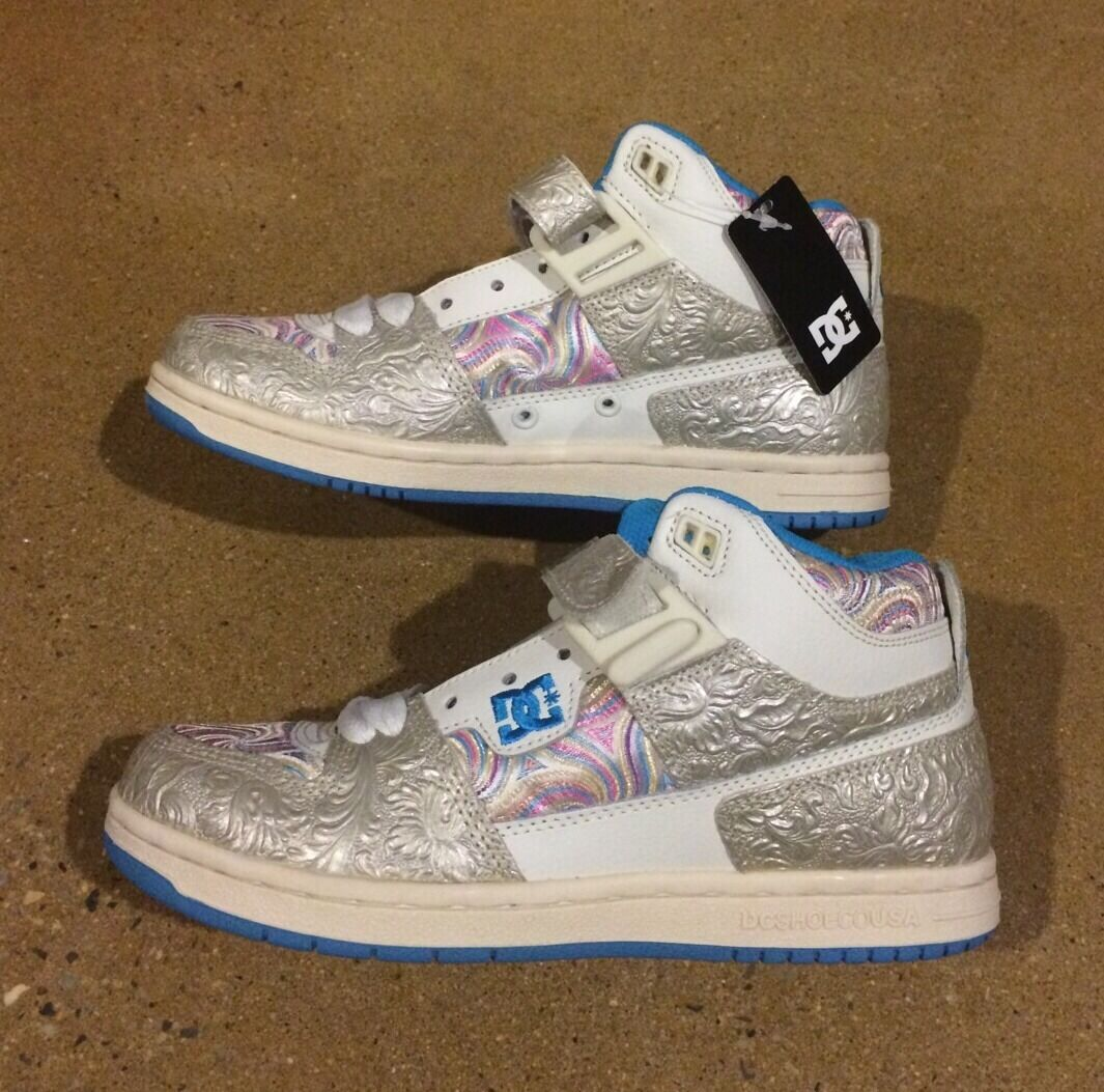 DC Schuhes Jersey City Woman's Größe 6.5 Silver WEISS Candy Swirl Skate Schuhes 75