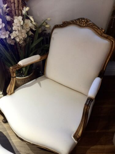 Stunning Cream french chair and Footstool With Gold Detail Frame - AMAZING!!