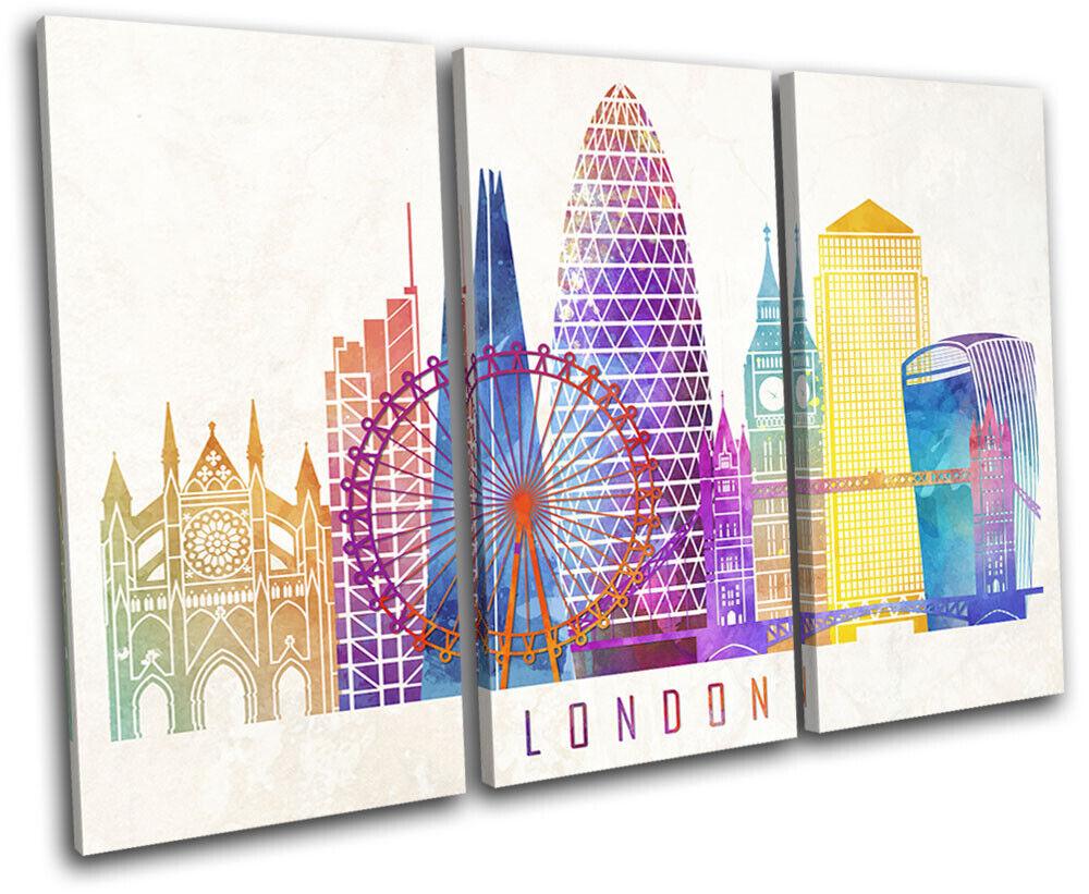London Colourful Abstract Grunge City TREBLE Leinwand Kunst Bild drucken