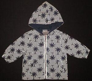 Baby Boys Hooded Jacket Coat Raincoat Windbreaker Candy Stripes Blue NEW Sz 00 0