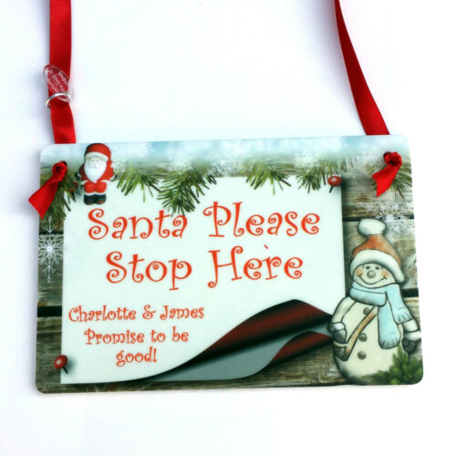 Personalised SANTA STOP HERE Christmas Plaque Wood sign Any Name//s Xmas Tree NEW