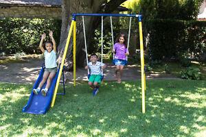 Small Metal Swing Set Backyard Swingset Playset 2 Swings ...