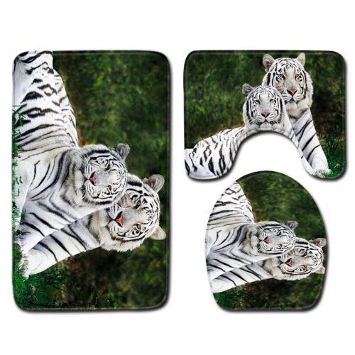 Animals Tiger Print Flannel Toilet Lid Cover Non Slip Bath Mat Bathroom Rug Set