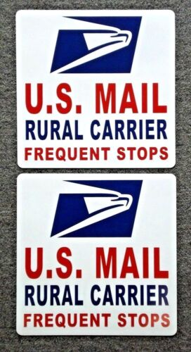 """2 U.S 12/""""X12/"""" USA Made Rural Carrier Frequent Stops USPS MAIL Magnetic Signs"""