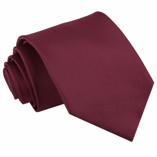 DQT Woven Plain Solid Check Burgundy Formal Casual Mens Classic Tie