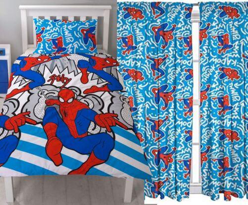 """Spiderman /""""POPART /'Single Couette /& Assorti Rideaux ensemble de literie 54/"""" OU 72/"""" GOUTTE"""