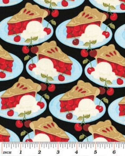 Cotton Cherry Pie Cherries Food Fruit Cooking Culinary Fabric Print BTY D574.38