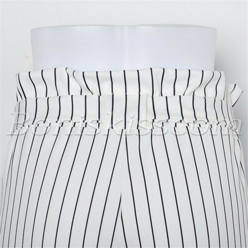 Womens High Waisted Striped Palazzo Slim Pants Bow Tie Belt Trouser With Pockets