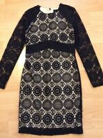 Bnwt🌹Next🌹Size 8 Black Lace Mix Cream Lined Dress Evening Cocktail Party New