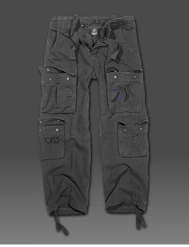Brandit Pure Vintage Cargo Pant-Nero-in look militare Cargo Pant Pant Merce Nuova