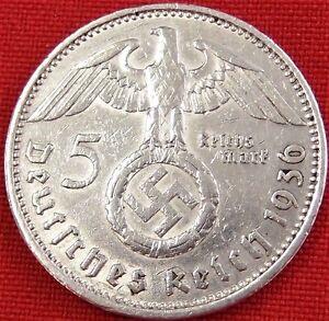 VINTAGE-WW2-SILVER-NAZI-GERMANY-5-REICHSMARK-COIN-RARE-100-ORIGINAL